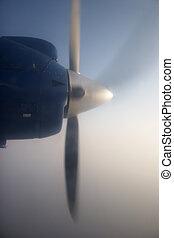 Propeller of a flying plane, Kathmandu - Lukla flight