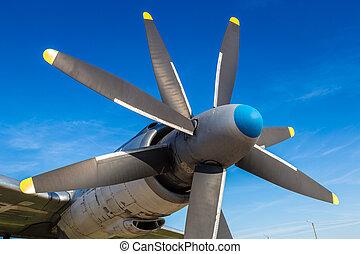 Propeller of Tupolev Tu-95 - Soviet turboprop-powered...