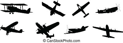 propeller planes - set of vector illustrated propeller...