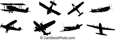propeller planes - set of vector illustrated propeller...