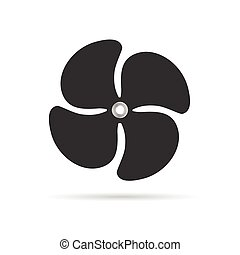 propeller rotate illustration silhouette in grey