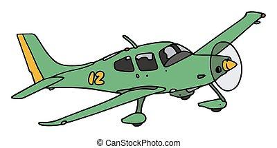 propeller vliegtuig, groene