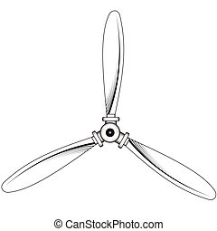 Propeller with three blades - Illustration of a propeller...