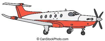 propeller, witte , vliegtuig, rood