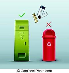 Proper battery disposal - Vector green battery recycle bin...