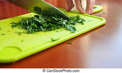 Proper nutrition and wellness. Prepare and chop lush...