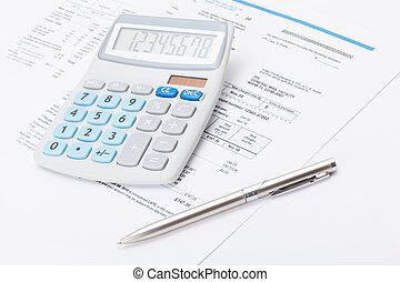 proper, rekenmachine, met, zilver, pen en, nut, rekening,...