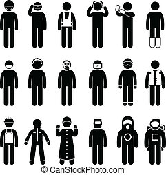 Proper Safety Attire Uniform Wear - A set of pictogram...