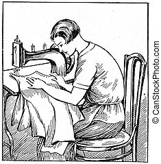 proper sitting at a sewing machine - an illustration of the ...