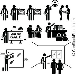 A set of pictograms representing property agent trying to sell real estates to customer.