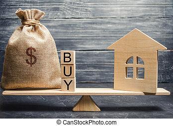 property., blocs, argent, miniature, accumulation, goal., mot, home., achat, maison bois, achat, vrai, estate., atteindre, balances., achat, sac
