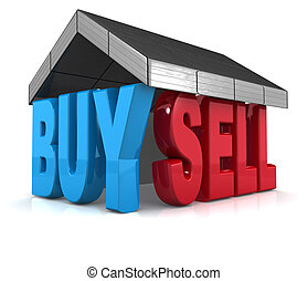 Property buy and sell concept design 3d illustration