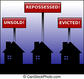Property Crisis - Illustration of three black houses in...