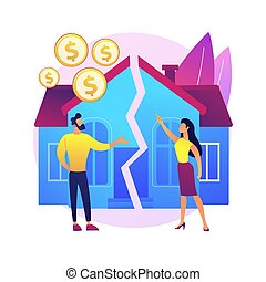 Property division abstract concept vector illustration. Divorce property agreement, division between spouses, separation process, lawyer service, legal equitable distribution abstract metaphor.