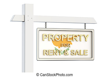 Property for sale and rent in Cyprus concept. Real Estate Sign, 3D rendering