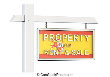 Property for sale and rent in Spain concept. Real Estate Sign, 3D rendering