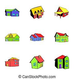 Property icons set, cartoon style