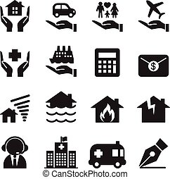 Property Insurance icons set Vector illustration