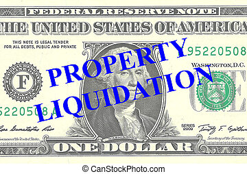 Render illustration of Property Liquidation title on One Dollar bill as a background