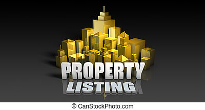 Property Listing Industry Business Concept with Buildings...