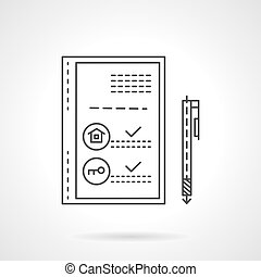 Property loan flat line design vector icon
