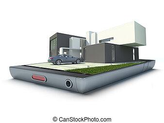 Property management app - Modern building with car jutting...