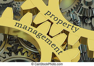 Property Management concept on the gearwheels, 3D rendering