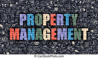 Property Management in Multicolor. Doodle Design.