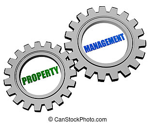 property management in silver grey gears - property...