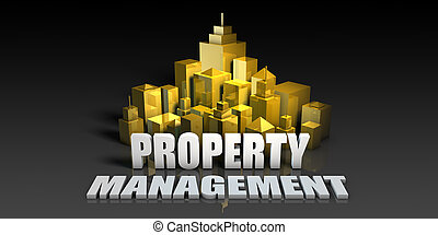 Property Management Industry Business Concept with Buildings...