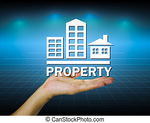 Property mark on hand with dark background.