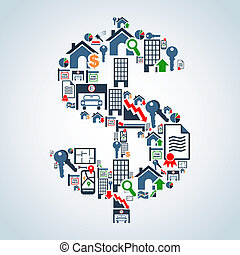 Property market business investment - Real estate icon set ...