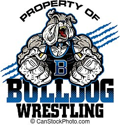 property of bulldog wrestling team design with mascot for school, college or league