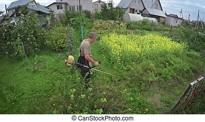 Property Owner Cutting Grass with a Line Trimmer, with Sound...