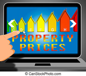 Property Prices Representing House Cost 3d Illustration