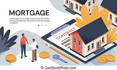 Property purchase and mortgage contract concept showing a ...