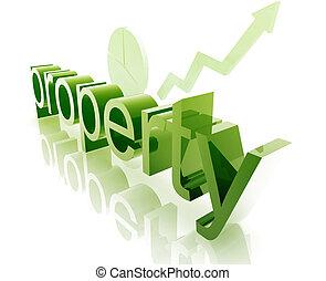 Property real estate economy trend concept illustration improving upwards