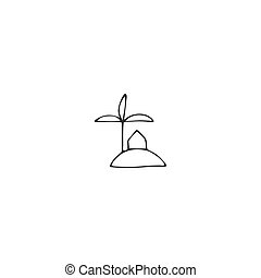 Property rental theme. Vector hand drawn illustration, a house on the island icon.