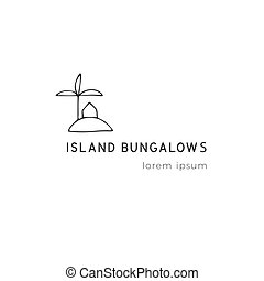Property rental theme. Vector hand drawn logo template, a house on the island.