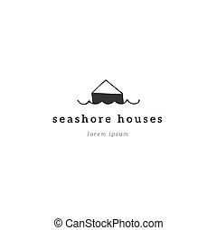 Property rental theme. Vector hand drawn logo template, a seafront bungalow.