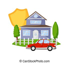 Property risk insurance isolated on white background