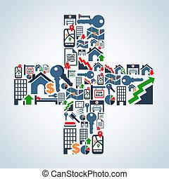 Property service icons plus symbol