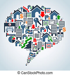 Property service in social media - Real estate icon set in...