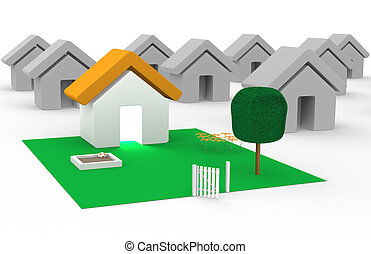 Property - Suburban area with one house standing out from ...