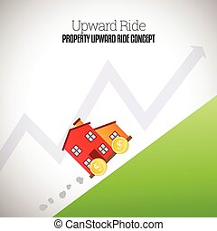 Vector illustration of a mobile house with wheels of gold dollar coins climbing uphill upward.
