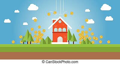 property value with gold coin money falling from sky