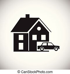 Property with garage on white background