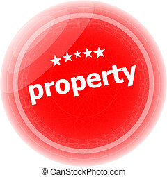 property word on red stickers button, label
