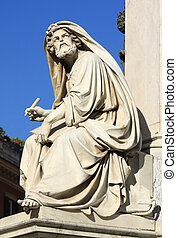 Prophet Isaiah (Isaias) statue in Rome, Italy. Famous Spanish Square (Piazza di Spagna).