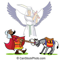 Prophet Velaam pulls a donkey, the divine angel has lifted a sword over his head